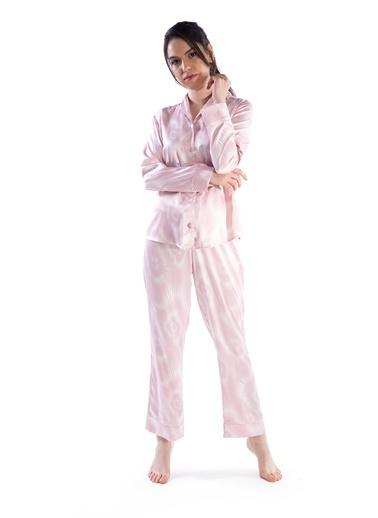 Pamuk & Pamuk Kadın Pembe Beyaz Saten Önden Düğmeli Pijama Renkli